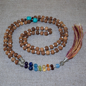 Rosary from tulasi , decorated with semiprecious stones and silver
