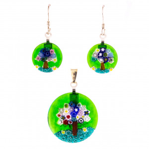 Pendant plus earrings Murano